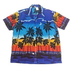 Kennington sz L sunset aloha shirt palm surf moon